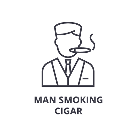 Linear symbol of man smoking cigar line icon, outline sign, flat vector illustration