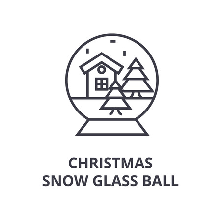 Linear style of Christmas snow glass ball line icon, outline sign, flat vector illustration