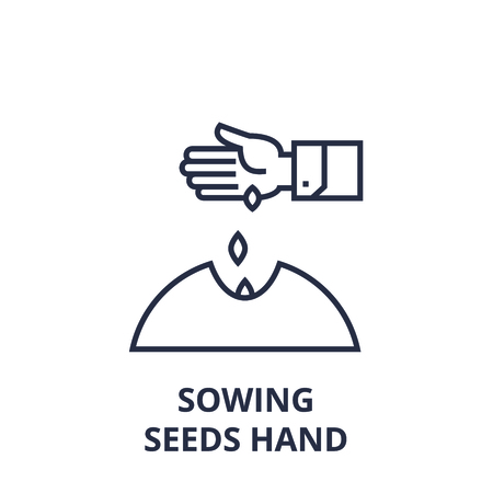 Linear style of sowing seeds hand line icon, outline sign, flat vector illustration