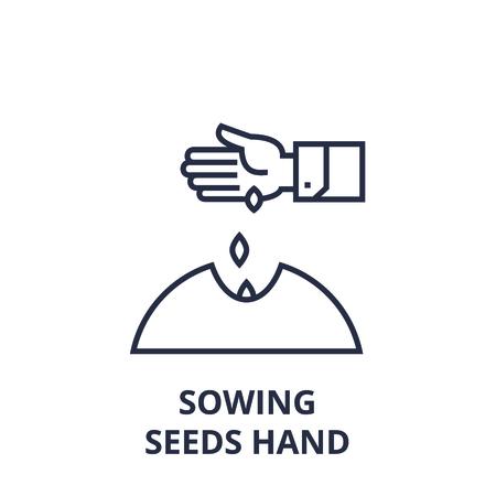 Style linéaire de semer des graines main icône de la ligne, signe de contour, illustration vectorielle plane