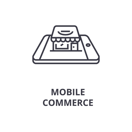 Linear style of mobile commerce line icon, outline sign, flat vector illustration Banque d'images - 91793283