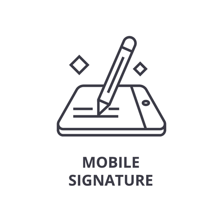 Lineaire stijl van mobiele handtekening lijn pictogram, overzichtsteken, platte vectorillustratie Vector Illustratie