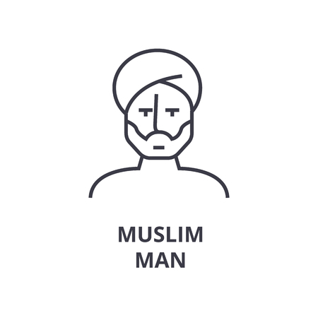 Linear style of Muslim man line icon, outline sign, flat vector illustration Фото со стока - 91793349