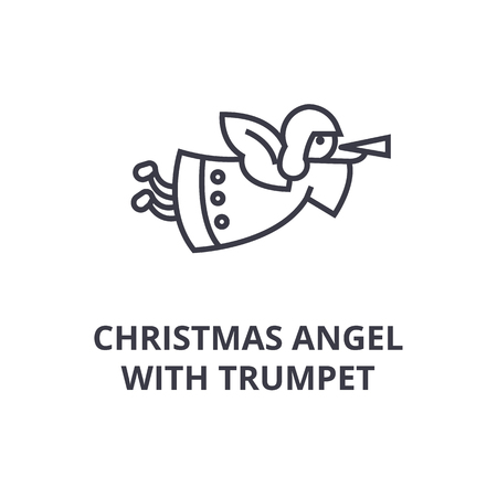 A Christmas angel with trumpet line icon,  outline symbol flat vector illustration