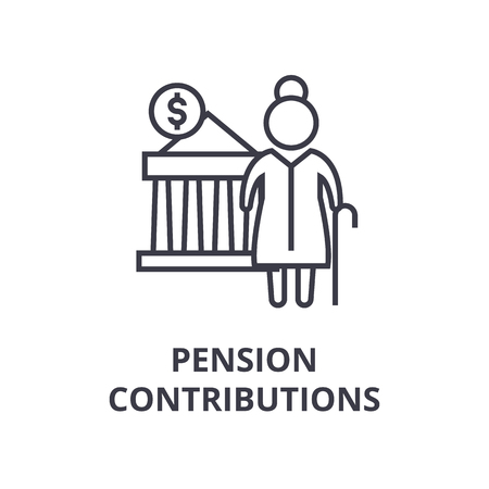 Symbols of pension contributions line icon,  outline design flat vector illustration Ilustração