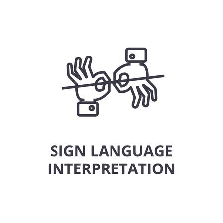 Mostrando um ícone de linha de interpretação de linguagem gestual, ilustração em vetor plana delineado de design Ilustración de vector