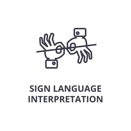 Showing a sign language interpretation line icon,  outlinedesign flat vector illustration