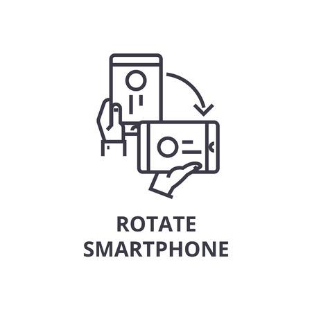 Auto-rotate smartphone line icon,  outline design flat vector illustration Illustration