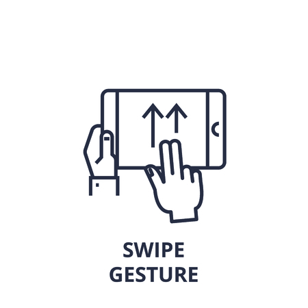 Symbol of swipe gesture line icon, outline design flat vector illustration Illustration