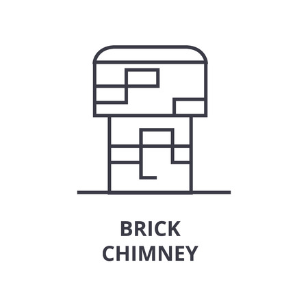 A brick chimney line icon, outline design flat vector illustration