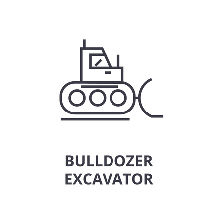 A bulldozer, excavator line icon, cartoon design  outline symbol flat vector illustration Ilustrace