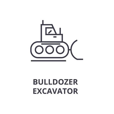 A bulldozer, excavator line icon, cartoon design  outline symbol flat vector illustration Illustration