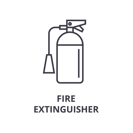Linear design of fire extinguisher line icon, outline sign, flat vector illustration
