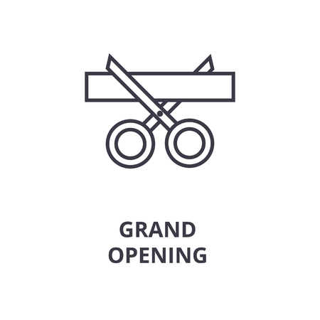 Linear style of abstract design grand opening line icon, outline sign, flat vector illustration