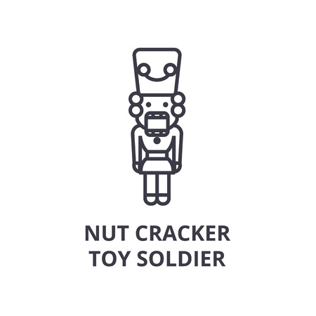 Linear style of nut cracker, toy soldier line icon, outline sign, flat vector illustration Ilustrace