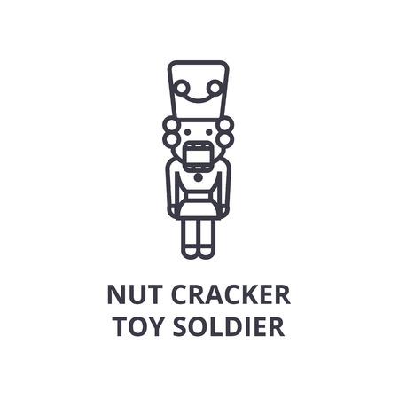 Linear style of nut cracker, toy soldier line icon, outline sign, flat vector illustration Ilustração