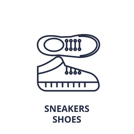 Linear style of sneakers shoes line icon, outline sign,  flat vector illustration Standard-Bild - 92102858