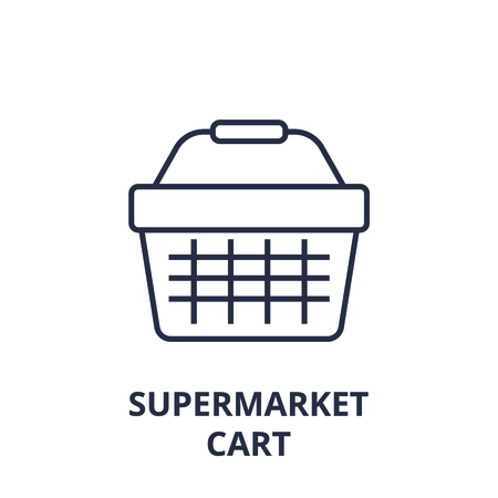 Linear style of supermarket basket line icon, outline sign, flat vector illustration