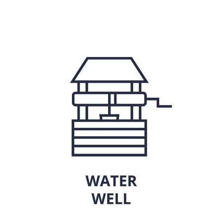 Linear style of water well line icon, outline sign, flat vector illustration Vettoriali