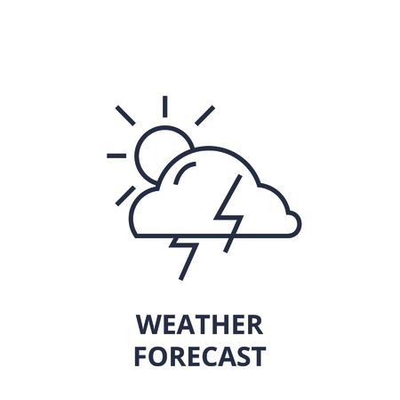 Linear style of weather forecast line icon, outline sign,  flat vector illustration