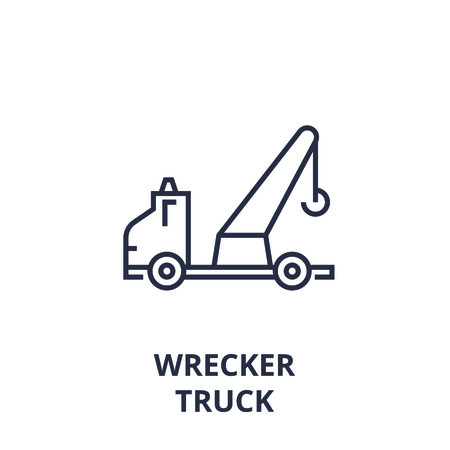 Linear style of wrecker truck line icon, outline sign, flat vector illustration