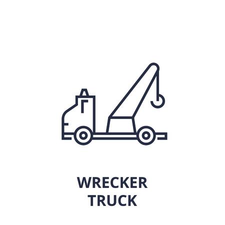 Style linéaire d'icône de ligne dépanneuse camion, signe de contour, illustration vectorielle plane Banque d'images - 92102900