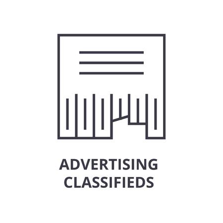 Lineaire stijl van advertentie advertenties lijn pictogram, overzichtsteken, platte vectorillustratie Stock Illustratie