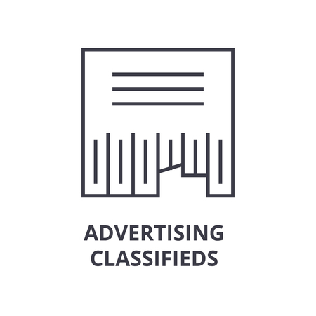 Linear style of advertising classifieds line icon, outline sign, flat vector illustration