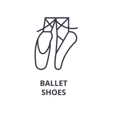 Linear sketch of ballet shoes line icon, outline sign, flat vector illustration