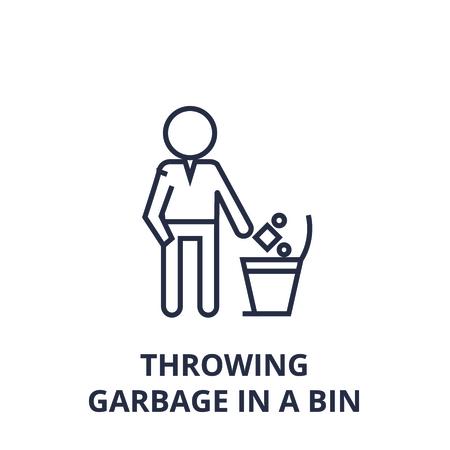ゴミをゴミ箱に投げる線形スケッチ、輪郭記号、フラットベクトルイラスト