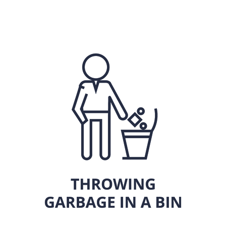 Linear sketch of throwing garbage in a bin line icon, outline sign, flat vector illustration