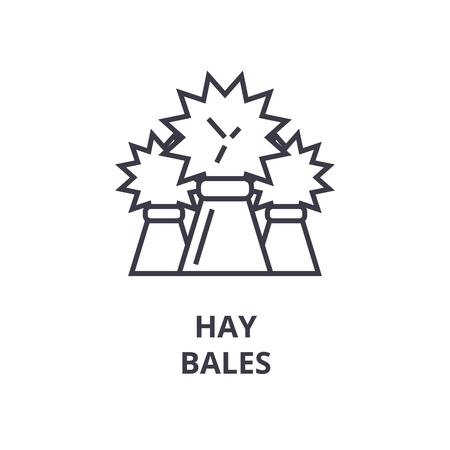 Lineaire schets van hooibalen lijn pictogram, overzichtsteken, platte vectorillustratie Stock Illustratie