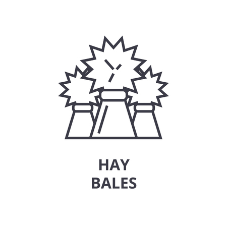Linear sketch of hay bales line icon, outline sign, flat vector illustration