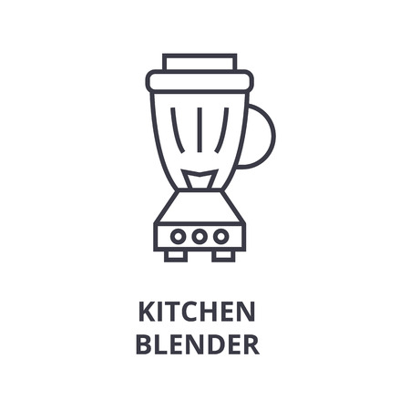 A kitchen blender line icon, outline design flat vector illustration Illustration