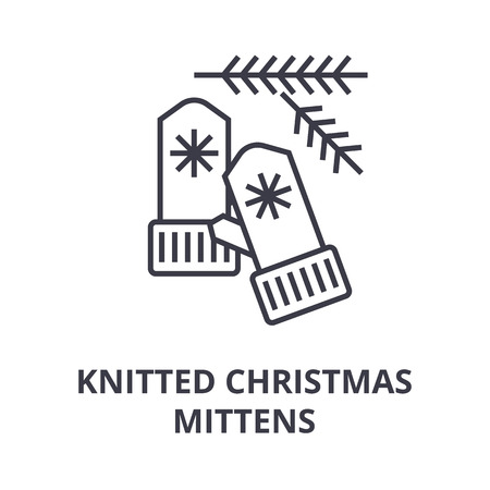A knitted Christmas mittens line icon, outline design flat vector illustration