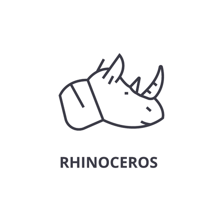 A rhinoceros head line icon, outline design flat vector illustration