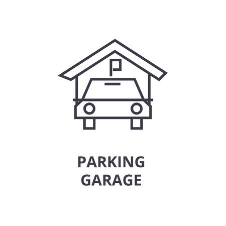 Abstract parking garage line icon, outline design flat vector illustration Иллюстрация