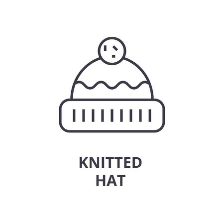 A knitted hat line icon, outline design flat vector illustration Illustration