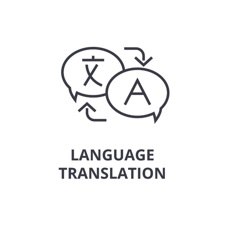 Simboli della linea icona di traduzione di lingua, illustrazione piana di vettore di progettazione del profilo Archivio Fotografico - 91734890