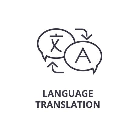 Symbolen van taal vertaallijn pictogram, overzicht ontwerp platte vectorillustratie