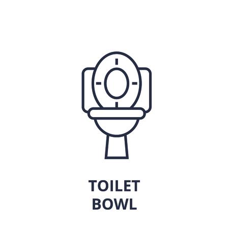 Abstract toilet bowl line icon, outline design flat vector illustration Stock Illustratie
