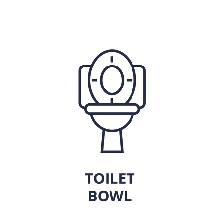 Abstract toilet bowl line icon, outline design flat vector illustration Vettoriali