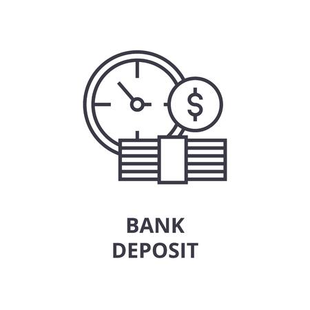 Símbolos do ícone de linha de depósito bancário, ilustração em vetor plana design esboço Foto de archivo - 91735008