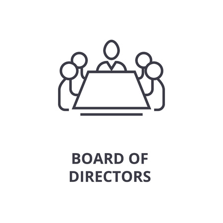Abstract symbol of board of directors line icon, outline design flat vector illustration