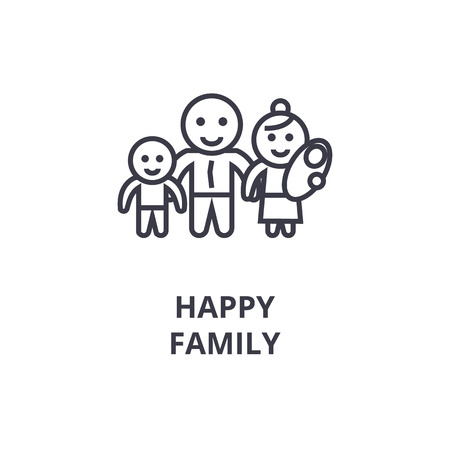 happy family line icon, outline sign, linear symbol, flat vector illustration