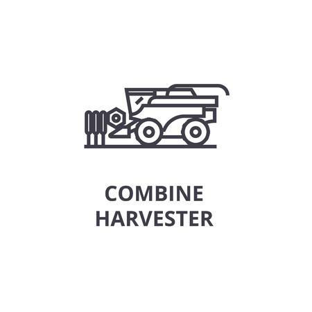 Combine harvester line icon, outline sign, linear symbol, flat vector illustration. Illusztráció