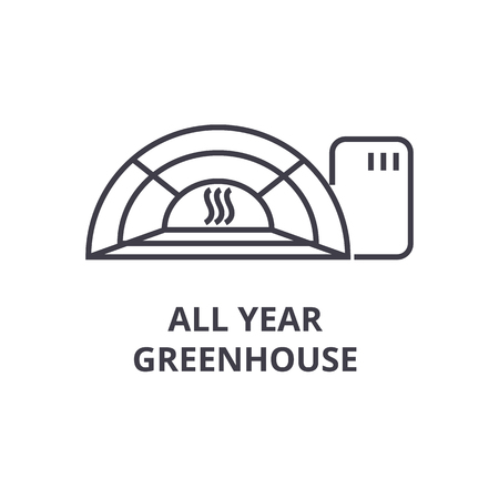 All year green house line icon, outline sign, linear symbol, flat vector illustration.