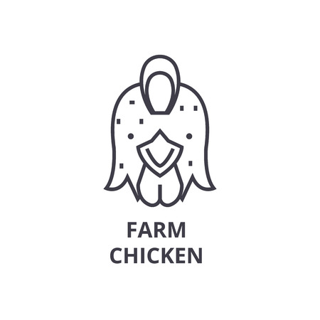 Farm chicken, hen line icon, outline sign, linear symbol, flat vector illustration. Illustration