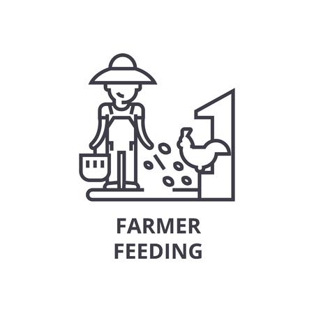 Landbouwer het voeden lijnpictogram, overzichtsteken, lineair symbool, vlakke vectorillustratie.