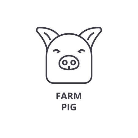 Pig line icon illustration.